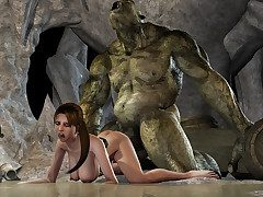 Giant creature ravages an ultra hot monstrosity huntress - HD comics  by 3D Heap