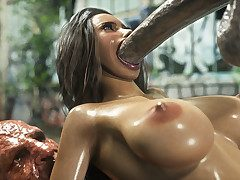 Babe lets out an orgasmic beat one's breast over as A she gets fuck hard - Monster eater decoration 2  by 3D Collection