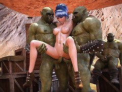 Two orcs scantiness to have a go some off colour fun with her - Ardent heat  by 3D Collection