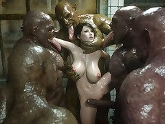 Dirty creatures surround and gangbang a pretty girl - Bestial eater part 1  by 3D Collection