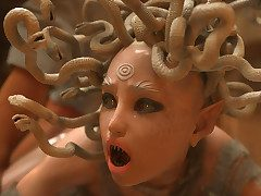 Depressed adventurer gets her juicy cunt drilled - Make an issue of adventures of Masterliness Snake: Medusa  by 3D Collection