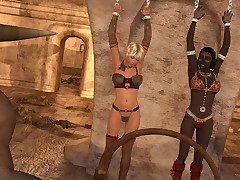 Chained blonde servicing horny Minotaur and his dark slut