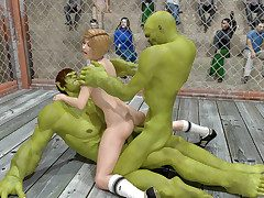 Fighting referee sandwiched between four hung aliens