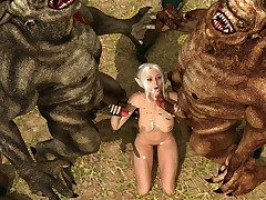 Horny elven slattern gets double-teamed by three huge monsters