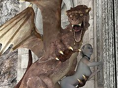 Horny dragon puts its shaft secure a hot female knave
