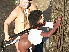 Innocent black slave gets dominated by a rich couple outside