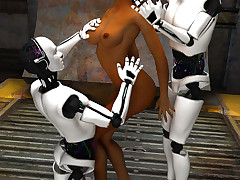 Three horny androids bang a miserable bitch with their metal dicks