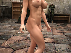 Delicious fit brunette shows off her round boobs and her cunt