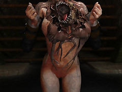 Horny alien bitch enjoys spreading her orgasmic wet pussy