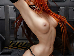 Gorgeous redhead space traveler shows..
