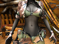 Horny mutant soldier enjoys showing off her perfect big tits
