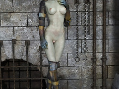 Foxy alien freak strips with regard to to divulge her tight pussy and laconic tits
