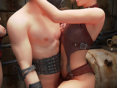 Sexy mutant babes watch as A a steampunk coupling has some hardcore fun