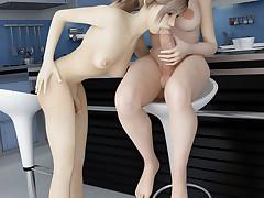 Two amazing tgirls get to pleasure their massive members