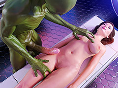 Green-skinned alien gives pleasure - First Contact 4 Experimental pussys by Auriferous master