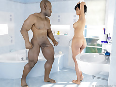 Interspecies Affair. Sensual chick was nonstop penetrated in a bathroom apart from a foul fiend