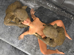 Dwarfs from Sewers. Young woman was roughly stretched into her wet pussy by cast off mutants