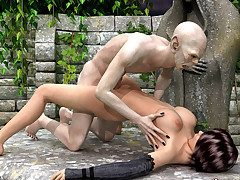 Naughty adventurer gets her succulent cunt drilled by a vampire's big shaft.