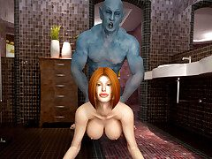 Busty redhead has her juicy beaver slammed by a kinky water demon.