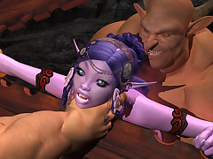 Monster cocks for her squeamish shaved night elf meat hole.