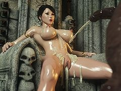 Gravamen of hot cum right in her pretty face - Karen and Bulgan the Impaler 2 by Jared999d