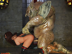 Powered troll captures and dominates his new sexy slave girl
